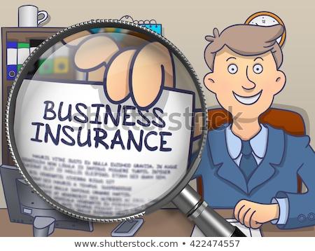 Business Insurance through Magnifier. Doodle Style. Stock photo © tashatuvango
