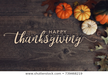 happy thanksgiving calligraphy text for greeting card stock photo © orensila