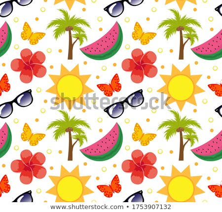 Summertime seamless pattern. Bright summer infinite background. Beach, vacation, sea theme repeating Stock photo © lucia_fox