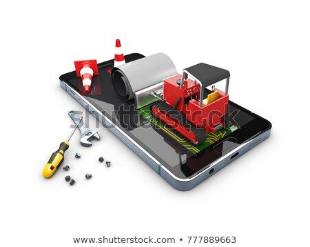 ilustração · 3d · escavadeira · tela · móvel · reparar · telefone - foto stock © tussik