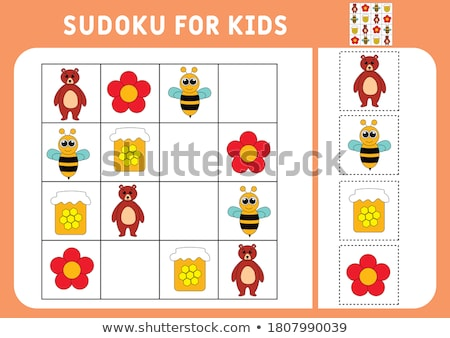 Sudoku puzzle grid for kids with cartoon animals Stock photo © adrian_n