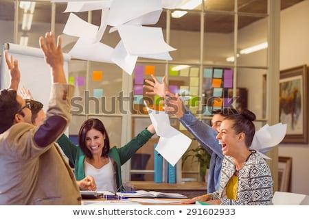üzleti csapat dob papírok levegő üzlet iroda Stock fotó © IS2