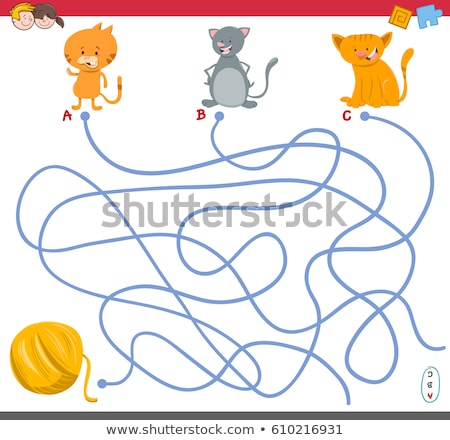 Chaton laine balle labyrinthe jeu solution Photo stock © Natali_Brill