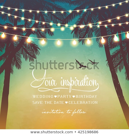 summer party poster decorative holiday lights for a beach party inspiration card for wedding date stock photo © ikopylov
