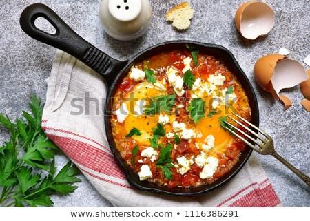 Sült tojás paradicsom paprika étel fa Stock fotó © M-studio