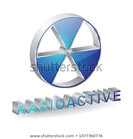 Radioactieve 3D glanzend vector icon ontwerp Stockfoto © rizwanali3d