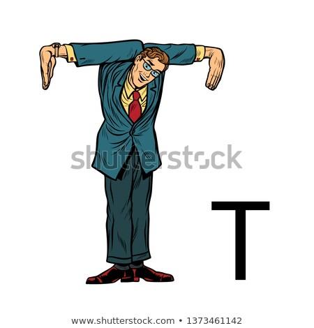 T betű üzletemberek sziluett ábécé pop art retro Stock fotó © studiostoks