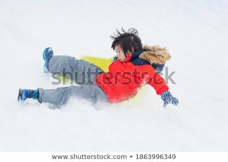 Dikkatlice oynama plastik slayt çocuklar Stok fotoğraf © georgemuresan