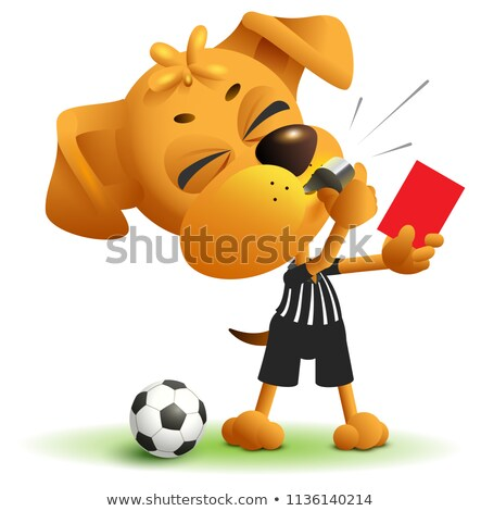 Football referee Dog shows red card. Soccer arbiter whistles Stock photo © orensila