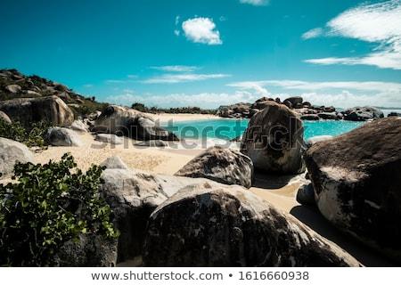Rock brytyjski Wyspy Dziewicze niebo wody krajobraz Zdjęcia stock © alexeys