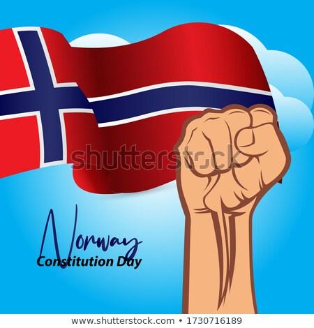 Noruega · dia · bandeira · cartaz · vetor · modelo - foto stock © SaqibStudio
