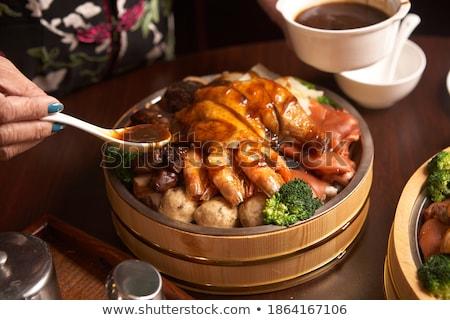 aszalt · gombák · fából · készült · tál · zöldség - stock fotó © digifoodstock