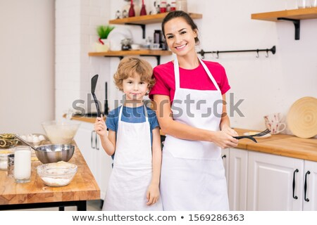 Meisje koken witte schort illustratie mooie Stockfoto © lenm