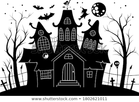 Halloween Funny Background with Witch and Haunted House. Stock photo © WaD