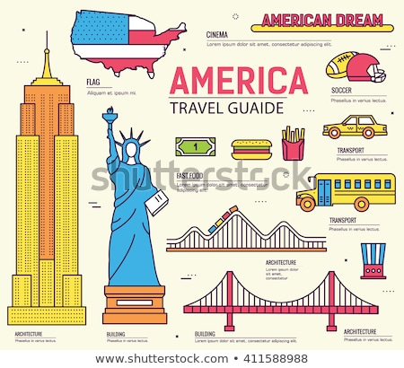 Stock photo: Country USA travel vacation guide of goods, places and features. Set of architecture, foods, sport,