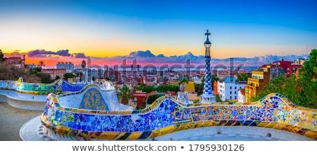 Stock fotó: Park · naplemente · Barcelona · Spanyolország · égbolt · város