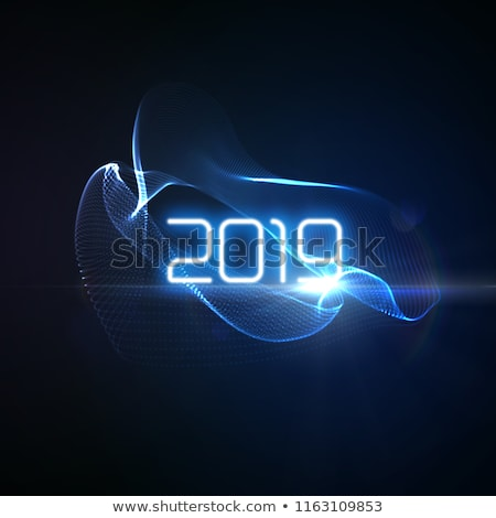 2019 happy new year disco background vector decoration element futuristic glowing neon light spher stock photo © pikepicture