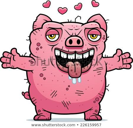 Laide porc hug cartoon illustration prêt Photo stock © cthoman