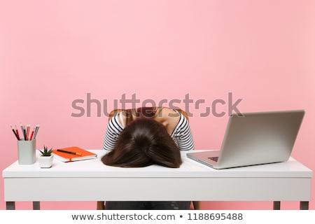 érzelmes · lány · ül · iroda · laptop · nő - stock fotó © anna_om