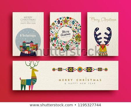 陽気な · クリスマス · カラフル · トナカイ · グリーティングカード · ヴィンテージ - ストックフォト © cienpies