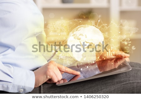 working business woman with worldwide reports links and statistics concept stock photo © ra2studio