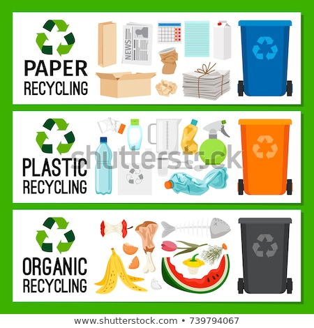 Bright Plastic Rubbish Bin with Recycling Sign Stock photo © robuart