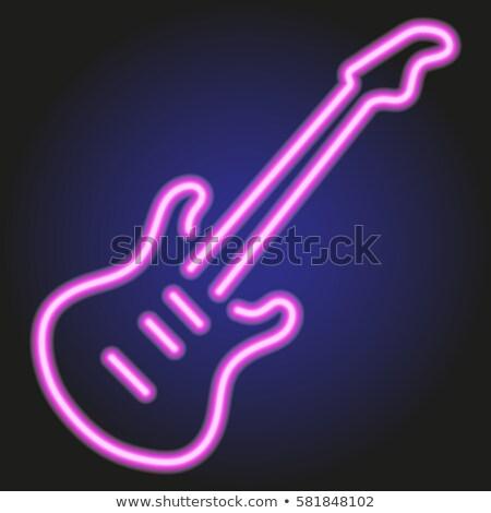 Gitár neonreklám zene promóció terv fém Stock fotó © Anna_leni