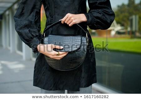 Negro cocodrilo cuero bolso aislado blanco Foto stock © acidgrey