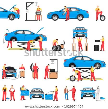 cartoon · samochodu · naprawy · ilustracja · charakter · twarz - zdjęcia stock © robuart
