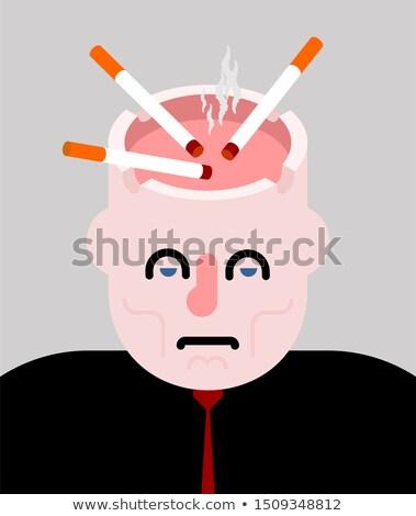 Cinzeiro cabeça abrir cigarros fumar fumador Foto stock © MaryValery