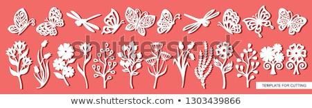 ピンク 紙 カット 花 セット 孤立した ストックフォト © cienpies
