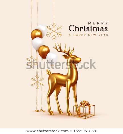 Karácsony új év 3D arany rénszarvas kártya Stock fotó © cienpies