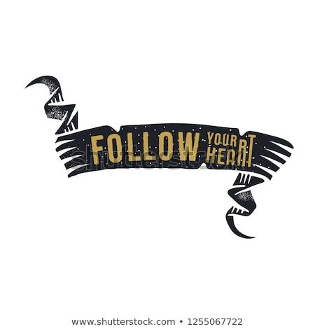 мотивация силуэта лента текста сердце Сток-фото © JeksonGraphics