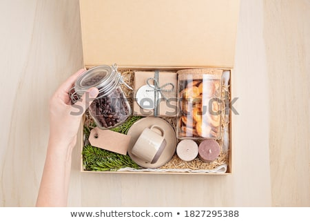 christmas card with sweets gift box and cookies stock photo © karandaev