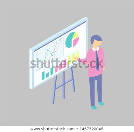 Blackboard on Tripod with Diagrams Cartoon Banner Stock photo © robuart