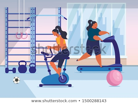 Woman Sportive and Fat Lady Vector Illustration Stock photo © robuart