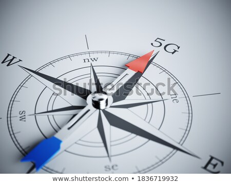 Compass on White Background, 5G Mobile Technology Concept Stock photo © make