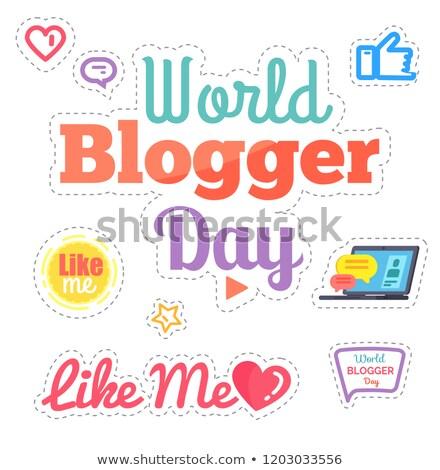 世界 · ブロガー · 日 · ステッカー · ボックス · セット - ストックフォト © robuart