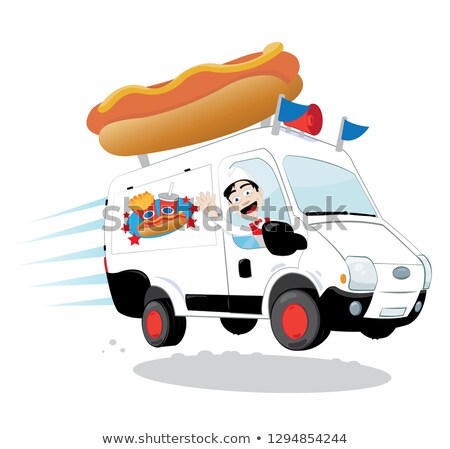 Funny hot dog van driven by a friendly man cheering and smiling Stock photo © pcanzo