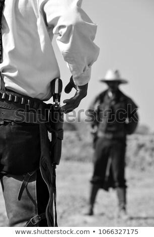 Duelo vaquero hombres ilustración puesta de sol silueta Foto stock © adrenalina