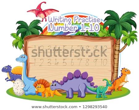 Foto stock: Escrita · número · prática · dinossauro · sorrir · madeira