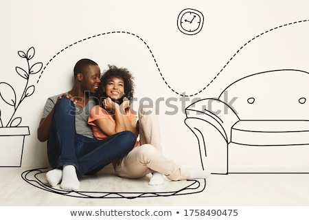 Foto stock: Couple Dreaming About Their Future In The New Apartment