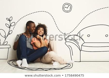 Сток-фото: пару · будущем · новых · квартиру · сидят
