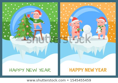 Happy new year porcelet evergreen arbre vecteur hiver Photo stock © robuart