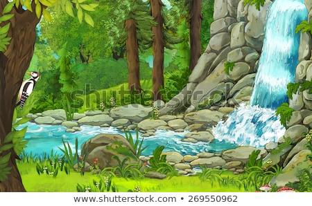Foto stock: Frontera · plantilla · cascada · escena · ilustración · paisaje
