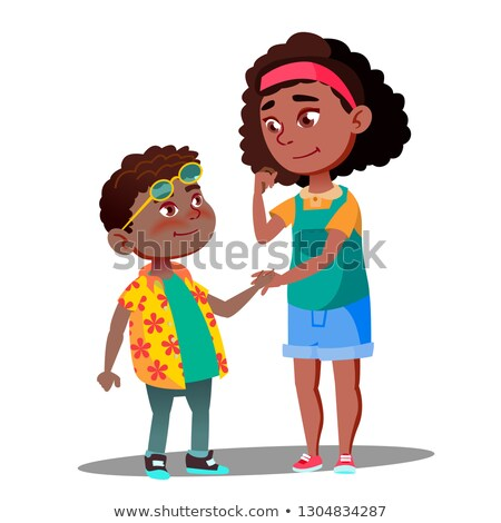 Stock photo: Smiling Girl Takes Hand Of Shy Afro American Boy Vector. Isolated Illustration