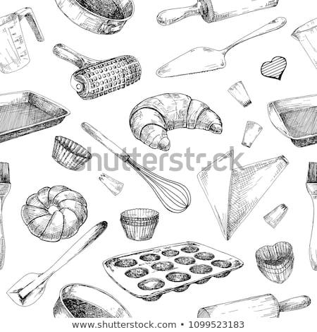 bulaşık · kroki · stil · gıda - stok fotoğraf © Arkadivna