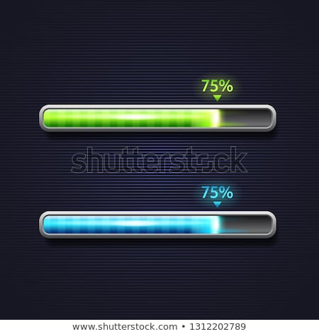 blue and green progress bar loading template for app interface stock photo © marysan