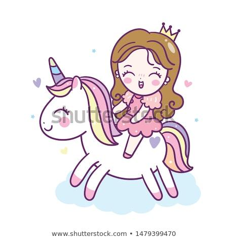 Cute · Принцесса · красивой · ребенка · лошади · рисунок - Сток-фото © lenm