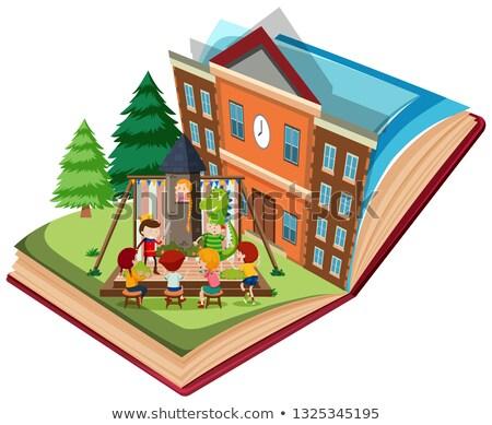 Dramat grać szkoły otwarta księga ilustracja drzewo Zdjęcia stock © bluering